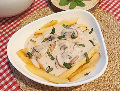 McCain French Fries Loaded with Cheesy Mushroom Sauce